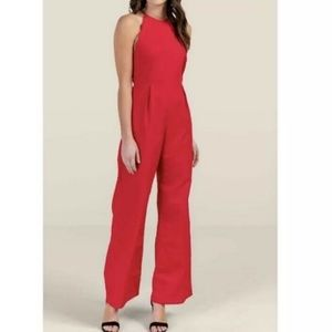 NWT Red Addison Scalloped Jumpsuit Sleeveless
